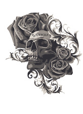 Multilayer STEP BY STEP airbrush stencil SKULL AND ROSES 3