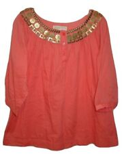 Michael Kors M Orange Peasant Blouse Bronze Metal Studded Neckline Lined FLAW