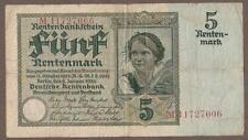 1926 GERMANY 5 RENTENMARK NOTE