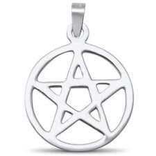 Plain Pentacle Star .925 Sterling Silver Charm Pendant