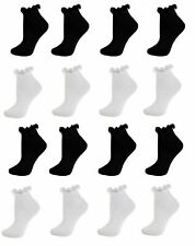 Women's Frilly Ankle Trainer Socks Ladies Cotton Lace Top Anklet Black White 4-7