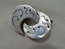 MEXICAN STERLING EARRING S WITH HALF MOON STYLE   CLIPS