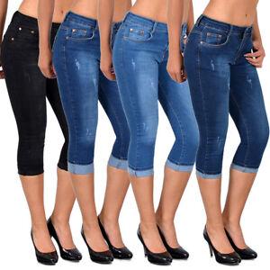 Women High Waist Skinny Jeans Knee Length Denim Capri Pants Summer Trendy Casual