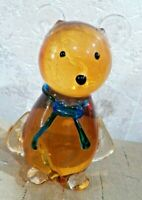 Nice Lg. & Heavy Amber & Clear Glass Mouse / Cat Figure Hand Blown Paper Weight