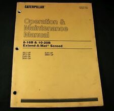 Caterpillar 8-16B 10-20B Extend A Mat Screed Operation Maintenance Manual CAT