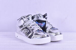 Youth Boy's Skechers Energy Lights Eliptic High Top Sneakers, Silver, 3M