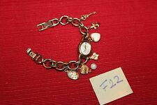 Anne Klein Womens Stainless Steel Gold-Tone Charm Bracelet Watch F22 Very nice