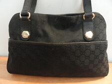 Women's Black Canvas & Leather Trim GUCCI 163228 GG Monogram Shoulder Tote Bag