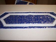 New handcrafted, quilted, reversible, embellished blue and silver table runner