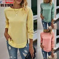 Women's Solid Sweatshirt Ladies Long Sleeve Pullover Jumper T Shirt Tops Blouses
