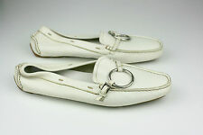 PRADA Leather Mocassins Flats Driving Loafers Women Shoes White Buckle Size 4.5