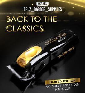 Wahl Magic Clip Cordless Clipper Black Gold Guards US Plug Barber Salons New