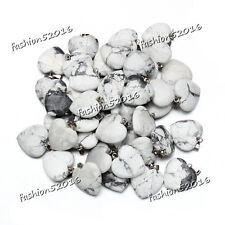 Wholesale 10pcs/lot Fashion Natural Heart Gemstone stone Silver Beads Pendants