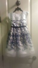 Beautiful Party Dress-Size 5-Royal Blue-Floral-Metallic-Sleeveless-Brand New