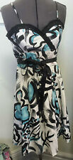 NEW Hot Options sz 12 10 floral abstract dress RRP $49.99 Black White Turquiose