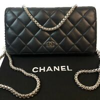 CERTIFIED AUTH. CHANEL Quilted CC Lambskin Leather Long Wallet~US SELLER