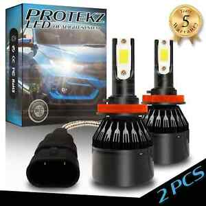 Two H11 LED Headlight Kit 4 Bulbs Plug&Play TurboCool Fan 60W 7200LM 6000K White