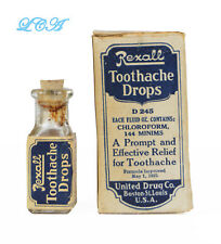 ORIGINAL old TOOTH ACHE DROPS antique BOTTLE w/ LABEL in BOX
