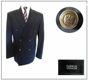 """M&S Mens Classic Double Breasted Jacket Blazer Ch42""""SH Navy military style"""