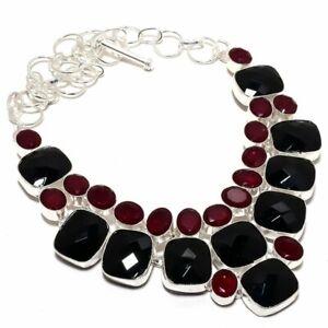 """Black Onyx, Ruby Gemstone 925 Sterling Silver Jewelry Necklace 18"""" W346"""