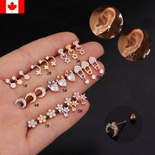 1PC Cz Curved Bar Flower Cross Cartilage Earring Conch Piercing Helix ear stud