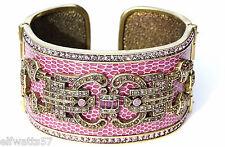 Heidi Daus Sparkling Chic Leather Cuff Pink S/M Swarovski Crystals  MSRP $130