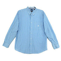CHAPS Easy Care Shirt Mens Size XL Light Blue Gingham Long Sleeve Button Front