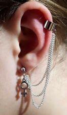 Ear Cuff , VENUS LGBTQ Pride, Silver 3 TRIPLE CHAIN,  Clip On Earring         c4