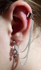 Ear Cuff , VENUS LGBTQ Pride, Silver 3 TRIPLE CHAIN,  Clip On Earring         c4