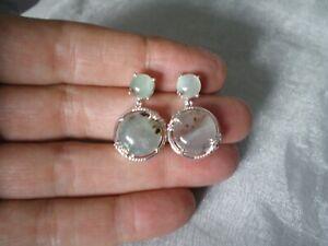 Aquaprase & Zircon stud earrings, 12.77 carats, 3.92 grams 925 Sterling Silver