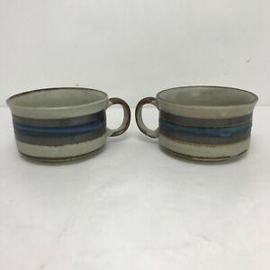 "Otagiri Japan Mid Century Modern Stoneware Horizon 2 5/8"" Soup Mug - Set of 2"