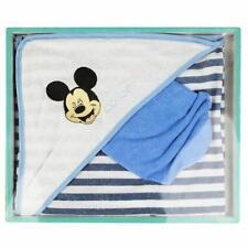 DISNEY coffret cadeau lot cape de bain + gant MICKEY bleu blanc neuf
