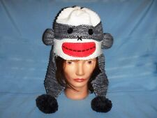 Womens Winter Sock Monkey Hat Crocheted Extended Ear Flaps - Awesome!!