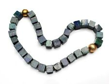 Edelsteinkette Collier Kette aus Azurit Malachit, Würfel + goldfarb. Kugel, NEU