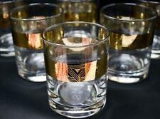 Crystal Glass set of 6 Whiskey Vodka Water Tumblers 7oz Gold Geometric Design