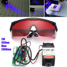 Powerful 2W 445nm 450nm Red Laser Diode Module 2000mw Engraver + 405nm Goggles