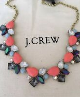 NWT J.Crew Factory Neon Papaya Crystal Statement Necklace