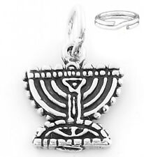 """STERLING SILVER """"MENORAH"""" CHARM WITH ONE SPLIT RING"""