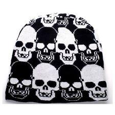NEW PUNK ROCK WINTER SKI SNOWBOARDING HAT CAP BLACK & WHITE SKULLS BEANIE FT338