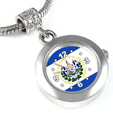El Salvador Flag Silver European Charm Bead Quartz Watch For Bracelet EBA255