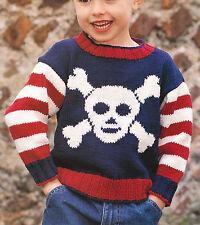 Pirate Skull & Crossbones Baby Childrens Jumper 6mths - 4 yrs DK Cotton To Knit