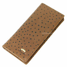 Men genuine Cow Leather Long Wallet Clutch credit Card Coin Zip ostrich pattern