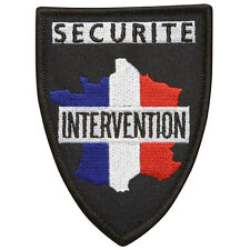 Patch écusson en fil brodé France Tricolore SÉCURITÉ INTERVENTION  - 9,5 x 7 cm