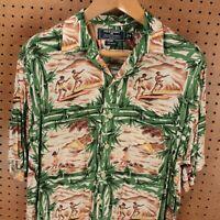 Polo Sport Ralph Lauren rayon loop collar hawaiian shirt MEDIUM aloha tiki vtg