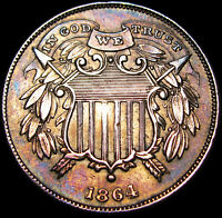 1864 Small Motto Two Cent Piece 2cp Type Coin ----  Stunning Details  ---- #K421