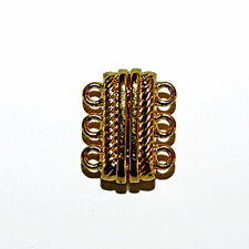 MAGNETIC CLASP THREE 3 STRAND DESIGN SILVER OR GOLD COLOR JEWELRY CLASPS