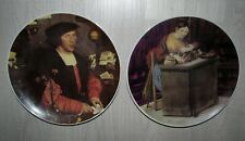 "Two Vintage Goebel Hans Holbein Collector Plates 8.5"" Georg Gisze Woman Money"