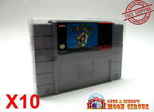 10x SUPER NINTENDO SNES CARTRIDGE - CLEAR PROTECTIVE GAME BOX SLEEVE CASE