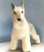 Schnauzer figurine Dog porcelain realistic Souvenirs Russia light grey color