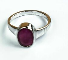 Red Ruby Gemstone Ring 925 Unisex Sterling Silver Ring Natural Oval Size 5-10